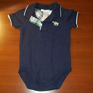 JANIE+JACK 'spring derby' embroidered polo onesie